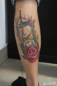 hourglass tattoo rose