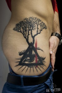 tree tattoo triangle eye